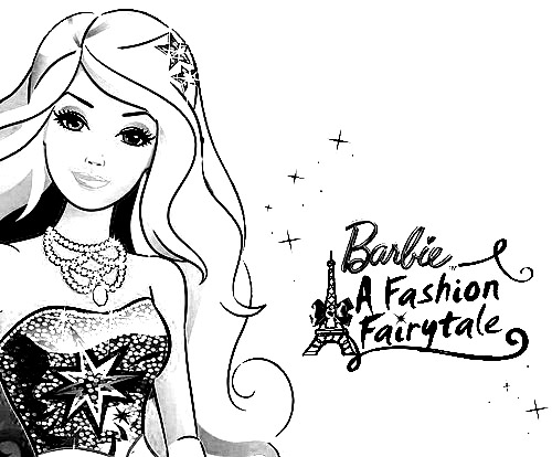 Barbie in a Fashion Fairytale Colouring Sheets 1
