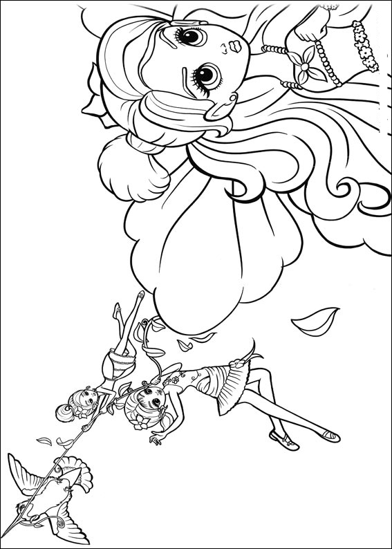 Barbie Thumbelina Colouring Sheets 1