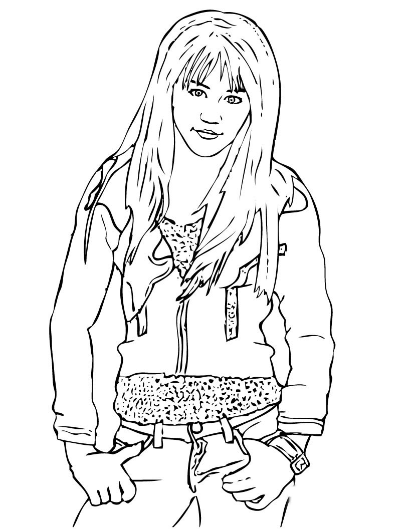Hannah Montana Colouring Sheets 1