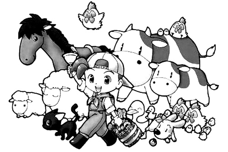 Harvest Moon Colouring Sheets 1